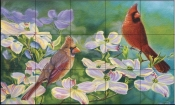 Cardinals of Spring-CC - Tile Mural