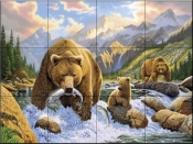 Bear Salmon Fishing-CH - Tile Mural