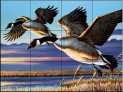 Geese Dropping In-CF - Tile Mural