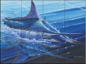 Blue Marlin Strike-CC - Tile Mural