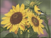 Goldfinch and Sunflowers-WV - Tile Mural