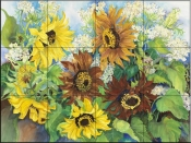 Queen Anne Lace and Sunflowers-JP - Tile Mural