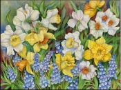 Daffodils and Grape Hyacinths-JTP - Tile Mural