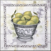 Limes In a Silver Bowl-DL - Tile Mural