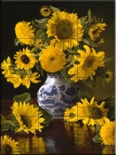 Sunflowers In Blue and White-CP - Tile Mural