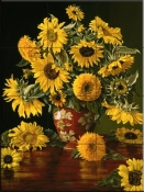 Sunflowers In A Crimson Vase-CP - Tile Mural
