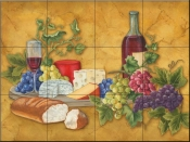 Wine and Cheese II-MT - Tile Mural