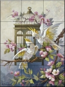 Cockatoos and Apple Blossoms-MJ - Tile Mural