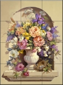 Urn with Peonies-MJ - Tile Mural