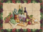 Wine Time with Border-RB - Tile Mural