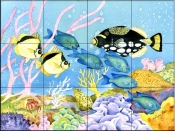 Clown and Trigger Fish    - Tile Mural