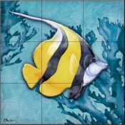 Azure Tropical Fish II-PB - Tile Mural