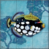Azure Tropical Fish III-PB - Tile Mural