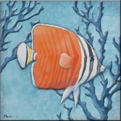 Azure Tropical Fish IV - PB - Accent Tile