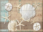 Linen Shells Collage-PB - Tile Mural