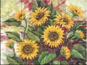 Blazing Sunflowers-PB - Tile Mural