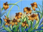Blackeyed Susans-DF - Tile Mural