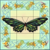Butterfly Square 8-DF - Tile Mural