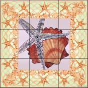 Seashell Square 3-DF - Tile Mural