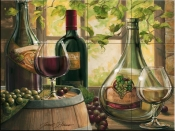 Wine by the Window II-JS - Tile Mural