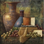 Cheese and Grapes I-JS - Tile Mural