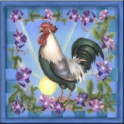 RS - Morning Glory Rooster I - Accent Tile