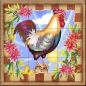 RS-Morning Glory Rooster IV - Tile Mural