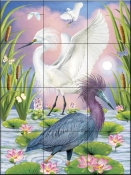 Little Blue and Snowy Herons-RS - Tile Mural