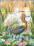 Reddish Heron Two Phases-RS - Tile Mural