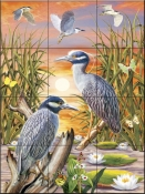 Night Herons-RS - Tile Mural