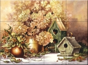 Antique Birdhouses-PTS - Tile Mural