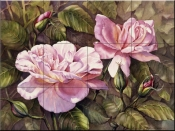 PTS-Pink Roses - Tile Mural