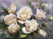 PTS-White Roses  - Tile Mural