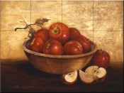 PTS-Wooden Bowl with Apples - Tile Mural