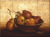 PTS-Wooden Bowl with Pears - Tile Mural