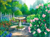 Bird Bath Sanctuary-VS - Tile Mural