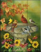 Backyard Birdbath    - Tile Mural