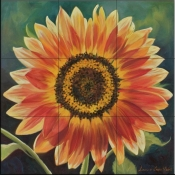 Orange Burst Sunflower  LSH - Tile Mural