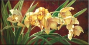 Golden Cymbidium Orchid-LSH - Tile Mural