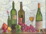 Grapes Wine and a Green Vase-TK - Tile Mural