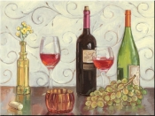 Grapes Wine and a Yellow Vase-TK - Tile Mural