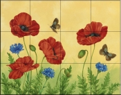Poppies and Cornflowers    - Tile Mural