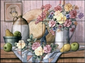 Straw Hat and Flowers - TC - Tile Mural