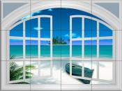 Beach View Through A Window - DM - Tile Mural