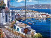 Mykonos Harbor - SP - Tile Mural
