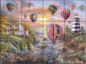Balloons Over Cottage Cove - NB - Tile Mural