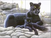 Black Panther and Cub - MM - Tile Mural