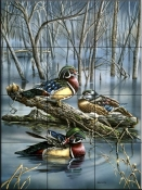 Misty Woodducks    - Tile Mural