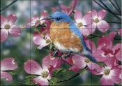 Bluebird/Pink Dogwood    - Tile Mural