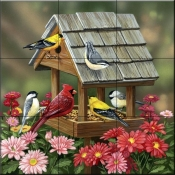 Backyard Birds Fall Feast    - Tile Mural